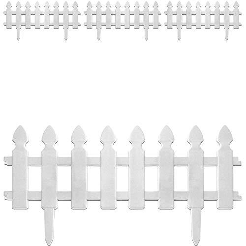 4 Stück Beeteinfassung, in 2 Farben verfügbar, Gartenzaun Lattenzaun Dekozaun Zierzaun Kunststoffzaun, Farbe:Weiß