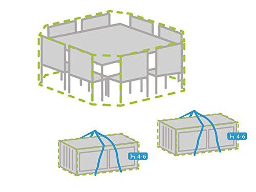 Ensemble de housses de protection : housse pour canapé 8 coins + housse pour 8 à 12 coussins résistant aux intempéries