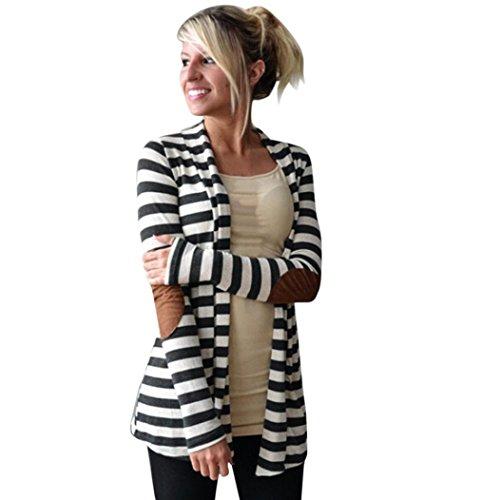 Kolylong® Damen-gestreifte Jacke Frauen Schwarz und weiße Streifen Mantel Frauen-beiläufige Lange Hülsen-gestreifte Wolljacke-Patchwork-Outwear (M, Schwarz)