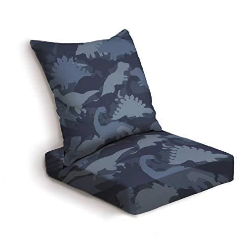 2-Piece Outdoor Deep Seat Cushion Set Dinosaur army print Camouflage seamless pattern with dino in blue Back Seat Lounge Chair Conversation Cushion for Patio Furniture Replacement Seating Cushion