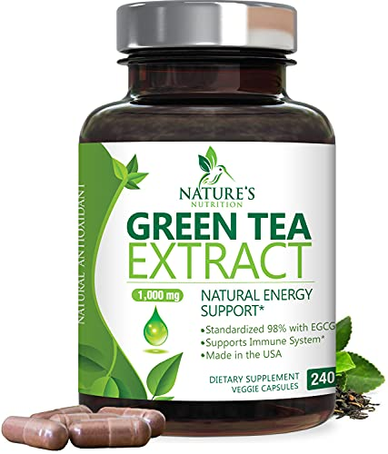 Green Tea Extract 98% Standardized EGCG for Natural Energy 1000mg - Supports Healthy Heart & Energy with Polyphenols - Gentle Caffeine, Made in USA - 240 Capsules
