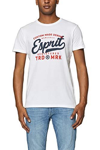 ESPRIT Herren 999EE2K800 T-Shirt, Weiß (White 100), X-Large (Herstellergröße: XL)