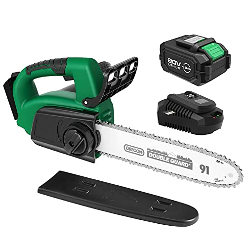 Cordless Chainsaw, KIMO 20V 9-Inch Electric Chainsaw w/4.0Ah Li-ion Battery & Charger, 15ft/s Speed, Auto Oiling, Auto-Tension, Battery Chain Saw for Tree Pruning Trimming Wood Cutting Garden Greening