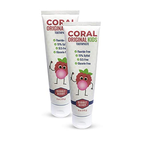 Coral White, Coral Kids Natural Toothpaste Fluoride Free and SLS Free, Berry Bubblegum Flavor 6 Ounce (2 Pack)