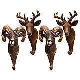 FAVOMOTO 4 Piezas 3D Animal Gancho de Pared Resina Argali Cabeza de Ciervo Estatuilla Colgante Arte Rack Abrigo Llave Ropa Colgador para Dormitorio Sala de Estar Pasillo