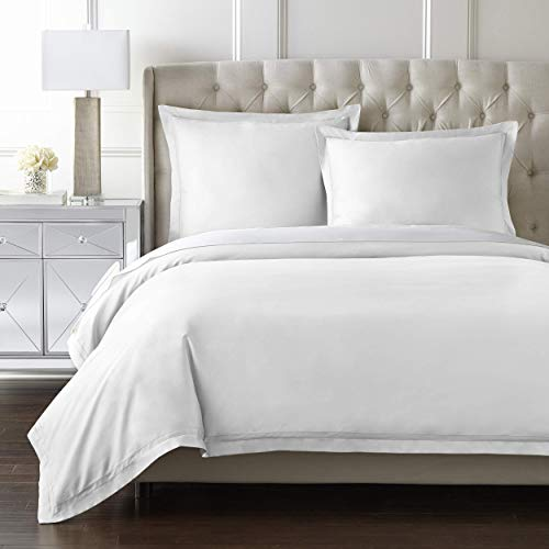 Luxury Duvet Cover Set | 100% Certified Egyptian Cotton | Cool, Breathable, Ultra Soft | Double Hem-Stitched | Sateen Weave | Hidden Zipper Closure | Comforter Cover and 2 Pillow Shams (White, King)
