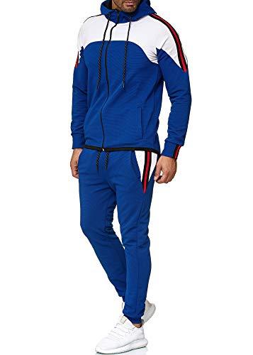 OneRedox Herren Jogginganzug Sportanzug Männer Trainingsanzug Fitness Sporthose und Trainingsjacke Modell 1148 (XL, Blau)