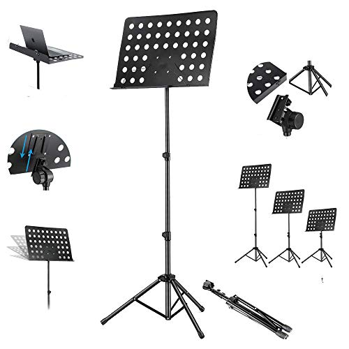 Kadence Music Stand, Height & Angle Adjustable Orchestral Stand Conductor Sheet Stand and Music Sheet Clip Holder, Notation Stand Black NK09