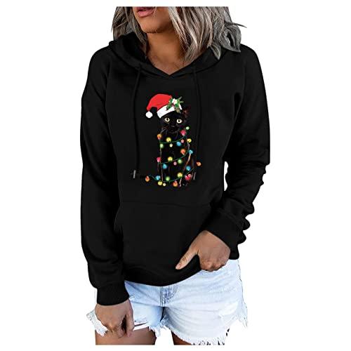 YTZL Sudadera de Navidad para mujer, de manga larga, con capucha, diseño navideño, Negro , S