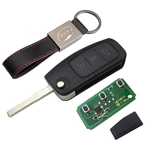 kaser Llave Mando Coche para Ford con Tarjeta Electrónica 3 Botones para Mondeo Focus Fiesta C MAX S MAX Galaxy (433MHz 4D63 80bits) Transponder con Llavero KASER