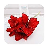 sexy-kawayi の人工4ヘッドフリースクリビア人工花偽花家族結婚式の装飾小道具装飾-Red-S