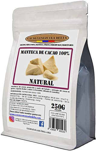 Manteca De Cacao 100% · Natural · Bolsa 250g - Calidad Extra - Cacao Venezuela Delta