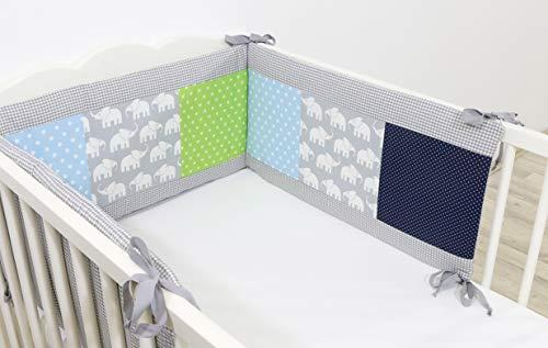 ULLENBOOM ® baby bedomrander l 180 x 30 cm l stootrand voor ledikantjes, hoofdbeschermer ledikant in de maat 120 x 60 cm I olifant blauw groen