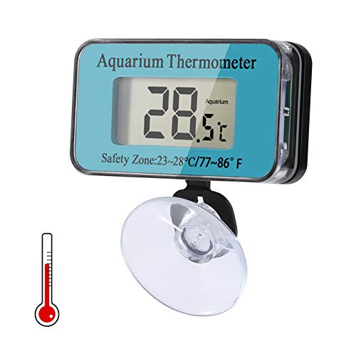 Delicacy Aquarium Thermometer Digitales, Wasserdicht Saugnapf Thermometer, Tauch Aquarium Thermometer mit Batterie, Temperaturanzeige Instrument für Aquarienwasser Terrarientemperatur, -50°C bis 70°C