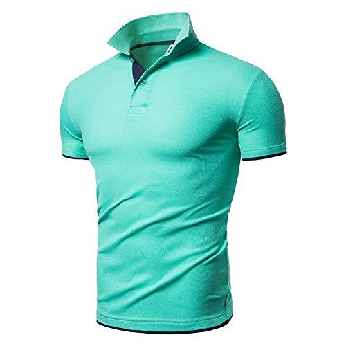 BeIM Herren Kurzarm Poloshirt Polohemd Men's Polo Shirt Basic Polo T-Shirt Baumwolle (3XL, Grün)