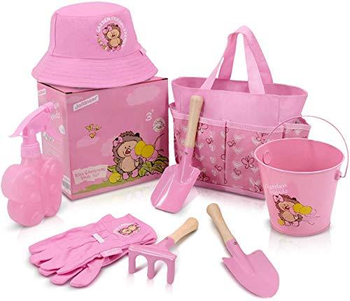 Jardineer 8PCS Gartengeräte Set für Kinder mit Kindergartenwerkzeugen, Handschuhen und mehr. Ideale Gartenspielzeuge für Kinder(Rosa)