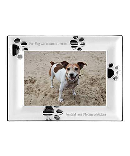Brillibrum Design Fotorahmen Hundetapsen Andenken Hund Bilderrahmen mit Gravur Hunde-Pfotenabdrücke Fotoformat 10 x 15cm inkl Wunschgravur Rahmen versilbert mit Pfötchen & Namensgravur