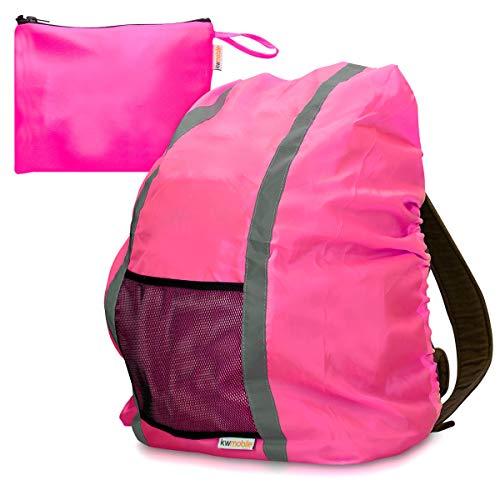 kwmobile Copertura Zaino Borsa Idrorepellente - Custodia Coprizaino Antipioggia Anti Polvere 64x84cm - Sacca Protettiva Catarifrangente - Rosa Neon