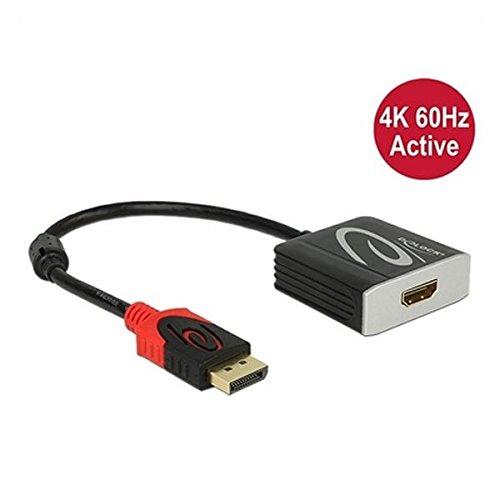 DeLock adapterkabel DisplayPort 1.2 stekker > HDMI 2.0 bus zwart 4K 60Hz actief