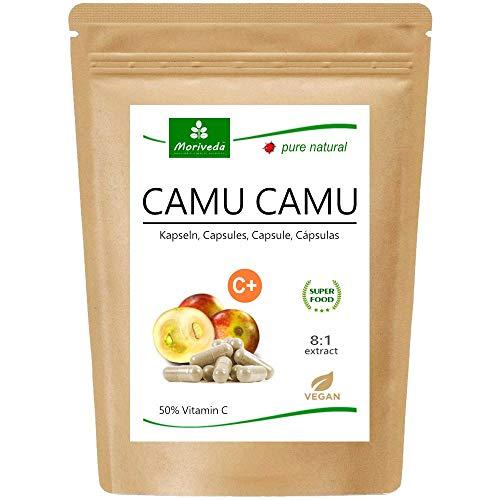 MoriVeda® - Camu Camu Capsule 8: 1 estratto con vitamina C naturale al 50% (120 o 360 pezzi) - prodotto di qualità vegana da MoriVeda (1x120 Capsule)