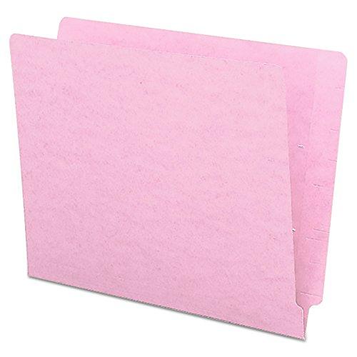 Smead End Tab File Folder, Shelf-Master Reinforced Straight-Cut Tab, Letter Size, Pink, 100 per Box (25610)