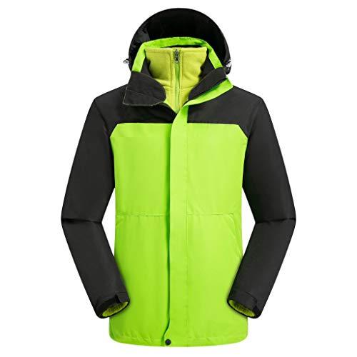 MAYOGO Windbreaker Wanderjacke Herren 2 in 1 Windstop Outdoorjacke Herren Wasserdicht Atmungsaktiv Funktionsjacke Winterjacke Fleece Innenfutter Sweatshirt Warmer Mantel Coat (Grün, XXXL)