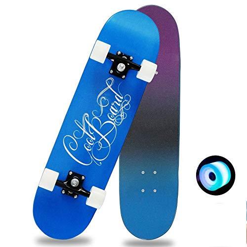 Taste life Anfänger Fliegen Skateboard Komplett 31 Zoll-blau leuchtende Rad-Muster