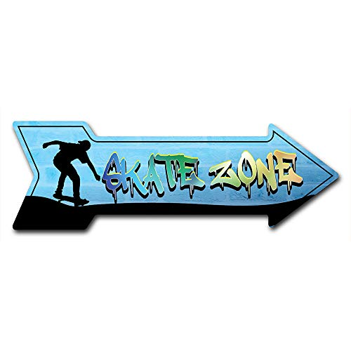 """SignMission Decal Art Skate Zone Decal Indoor/Outdoor Decor 24"""" Directional Sticker Vinyl Wall Decals"""