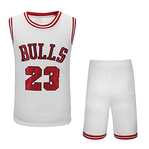 EJKDF JÓRDAN No. 23 Jersey, BÚLLS Jersey de Baloncesto, Calle para Hombre y Mujer Al Aire Libre Moda Camiseta sin Mangas de Malla Transpirable. White