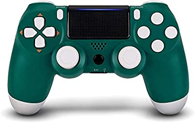 Wireless Remotes Control for Sony Playstation 4, YU33 PS4 Joystick Gamepad for Ps4 Controller with Dualshock and Charging Cable, Gift Box Packaging (Green+Gold)