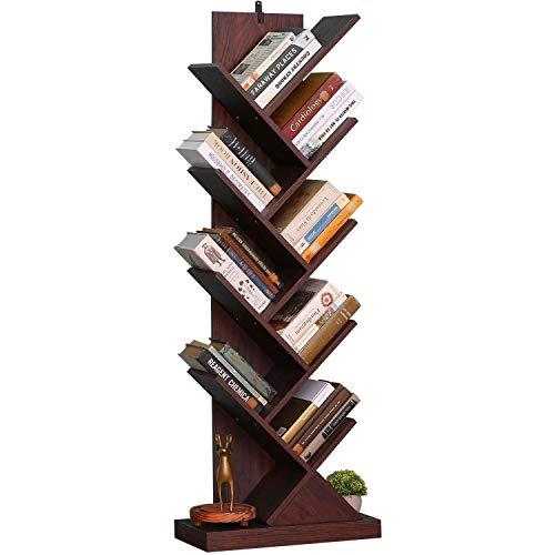 Estantería de árbol, estantería de madera, estantería de pie de árbol en la sala de estar en casa, oficina, estante organizador para libros, revistas, CDs/películas, color marrón nogal
