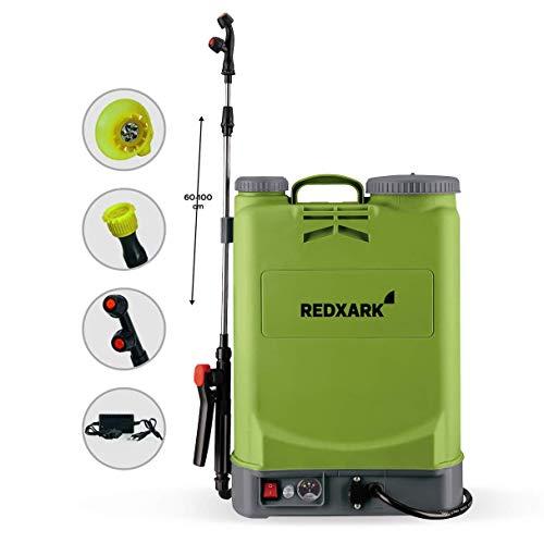 Redxhark 16 Liter Akku Drucksprühgerät Rückenspritze - Akku Drucksprüher 12V 6 Bar (max) 3h Autonomie Ladegerät + 3 Düsen inklusive