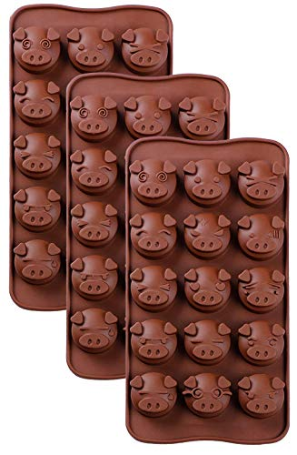 Silicone Chocolate Molds Piggy Pig Face Emoticons Piglet Candy Molds for Jello, Fondant, Hard Candy, Keto Fat Bombs, Resin, Pack of 3