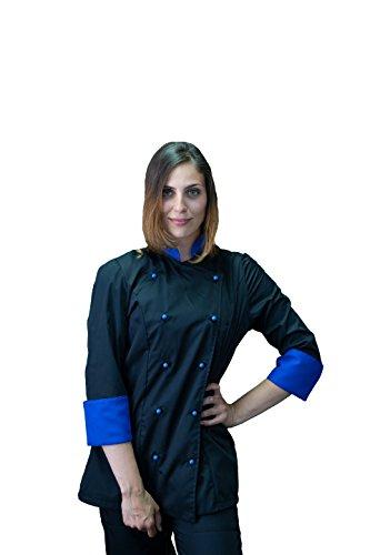 tessile astorino Bordado gratuito – Chaqueta de cocinero de cocina – Casaca Chef Mujer – Negro y azul – Fabricado en Italia Negro y Azul, Mujer L