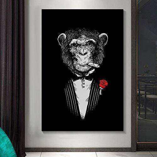 ZLARGEW Pinturas en Lienzo con Estampado de Mono Fumador Carteles e Impresiones artísticos de Pared de Animales Mono Divertido Traje Cuadros de Pared decoración de la habitación 60x80cm sin Marco