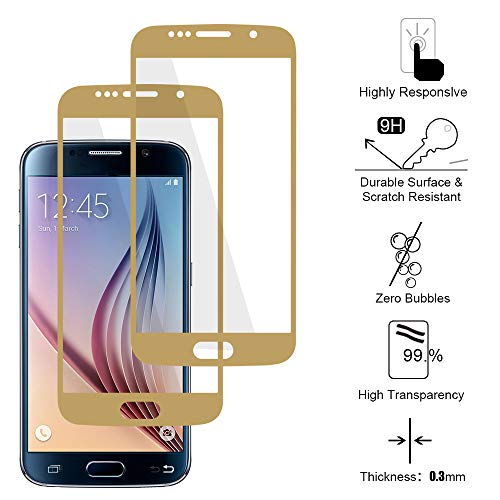 Siumir 2 PCS Cobertura Total Protector de Cristal Templado para Galaxy S6 SM-G920F Protector Pantalla Cristal Templado, Alta Definicion