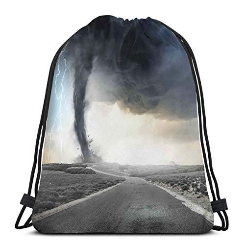 Odelia Palmer Mochilas con cordón Estampado Bolsas, Embudo de Tornado Negro Gas y relámpagos Que ruedan en la Carretera Desastre de Humos Impresión monocromática