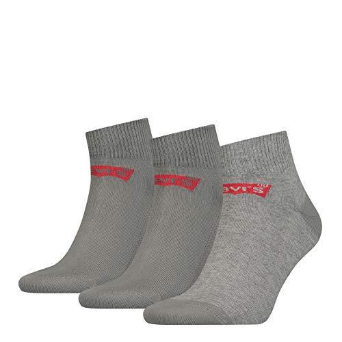 Levi's Unisex Mid Cut Batwing Logo Socken, 3er Pack, Middle Grey Melange, 43/46