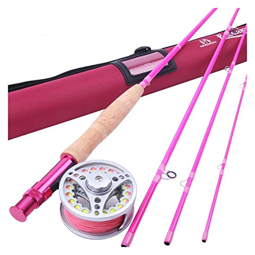 AFANGMQ Maximumcatch 5WT Pesca con Mosca Combo 9 pies Media-rápida Pesca Rosa Mosca Rod con el Carrete y una línea Cañas de Pescar