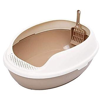 ZCY Grand Litière pour Chat Semi-fermé Toilette pour Chat avec Résistant Aux Éclaboussures Pédale Animal De Compagnie Poêle À Chat (Color : Brass)