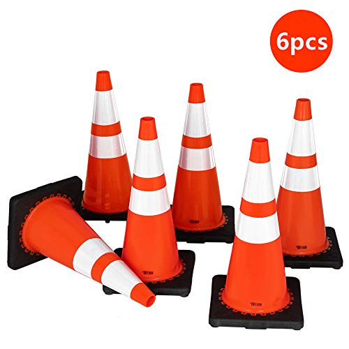 "TUFFIOM 6Pcs Safety Traffic Cones, 28"" Orange Slim Fluorescent Reflective Collars, Road Parking Field Marker Cones for Outdoor Activity & Festive Events Multipurpose"