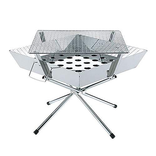41xDj1S2WpL - BGROESTWB Tragbare Grillzubehör Folding beweglicher Edelstahl-Außen Charcoal BBQ Grill for das Wandern Picknick Camping Für Grillparty (Color : Silver, Size : 36x36x32cm)