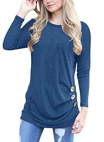 I2CRAZY Sweatshirts for Women Long Sleeve Button Casual Blouses Shirt Tops - 2XL, Blue