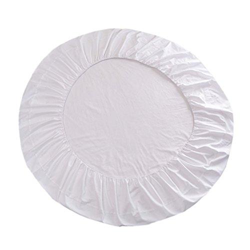 Fenteer Superweiches Baumwolle Runde Bettwäsche Spannbettlaken Baumwolllaken, Durchmesser 220cm - Weiß