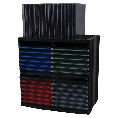 Fellowes CD Aufbewahrung, CD Turm mit Selbstauswurf-System, horizontal und vertikal nutzbar, für 30 + 18 CDs, Farbe: schwarz