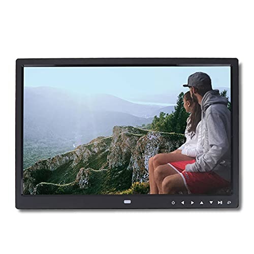 Garsent - Marco de fotos digital, 15 pulgadas, alta resolución, 1280 x 800, soporte para fotos, música, vídeo HD, calendario, multilingüe con mando a distancia, color negro