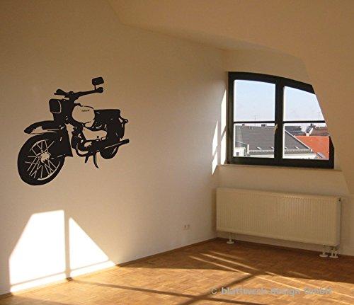 Wandtattoo - Habicht - Motorroller - Simson - Vogelserie - Kleinkraftrad - verschiedene Farben und Größen (600 mm x 580 mm, M070 Schwarz)