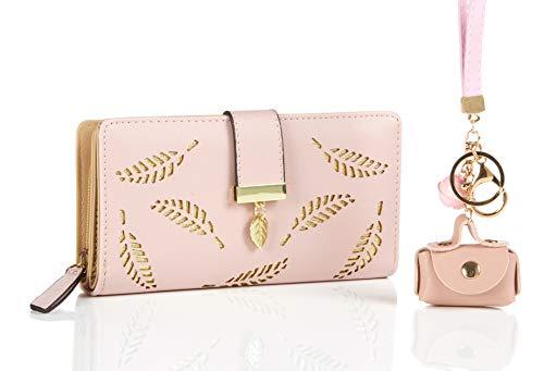 Damen Geldbörse neu in einem wunderschönen Rosa, großes Kartenetui für mindestens 12 Kreditkarten und Münzfach, Geldbeutel aus PU Leder incl. GRATIS Schlüsselanhänger