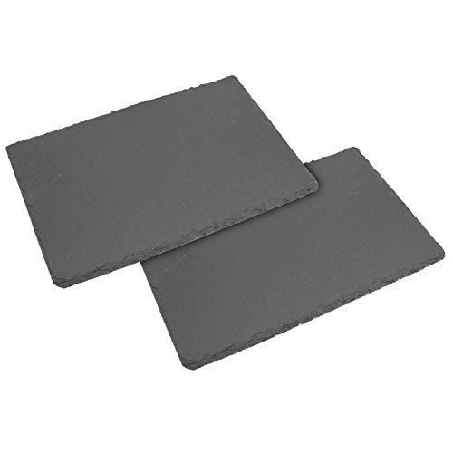 com-four® 2X Platos de Pizarra para Comer - Bandeja de Servicio de Pizarra Natural - Tabla Pizarra para Servir Queso o Similar, 30 x 20 cm