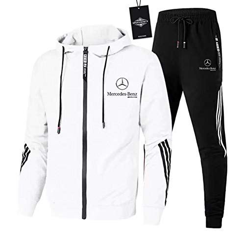 Finchwac Herren Jogging Anzug Trainingsanzug Sportanzug Merce.Des-Ben.Z Streifen Kapuzen Jacke + Hose X/Weiß/XXL sponyborty